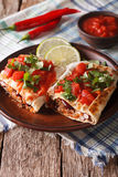 Chimichanga with ground meat, beans and cheese close-up. Vertica Royalty Free Stock Photography