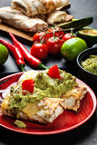 Chimichanga mexicano com mergulho do guacamole imagens de stock royalty free
