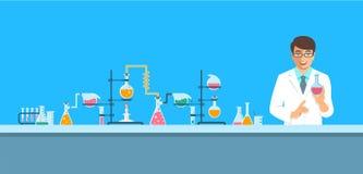 Chimico nel fondo chimico di vettore del laboratorio Immagini Stock
