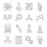 chimie Icônes de vecteur, tirées par la main Photo stock