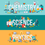 Chimie, la science, mots de physique illustration stock