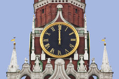 The chiming clock of the Spasskaya tower of the Kremlin. Moscow. Spasskaya tower of the Moscow Kremlin is one of the most famous sights of the architectural royalty free stock images