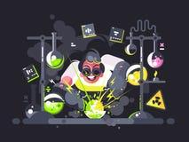 Chimiste de scientifique faisant l'expérience chimique illustration stock