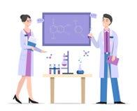 Chimistes dans l'illustration de vecteur de laboratoire illustration libre de droits