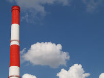 Chimney 01. Factory chimneywith red and white stipes, Moscow Stock Image