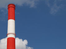 Chimney 02. Factory chimneywith red and white stipes, Moscow Royalty Free Stock Images