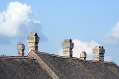 Chimney. On top of house royalty free stock image