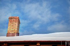 Chimney. On the house under the blue sky Royalty Free Stock Photos