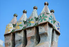Chimney. Detailed image of Casa Batllo building rooftop in Barcelona, Spain Royalty Free Stock Photography