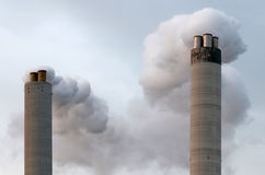 Chimney. Two chimney's from big industrial factory Stock Photography