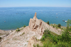 Chimney Bluffs near Great Sodus Bay, New York. Chimney Bluffs State Park on Lake Ontario near Great Sodus Bay, New York State Stock Images