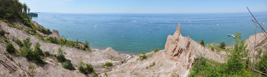 Chimney Bluffs panorama. Chimney Bluffs State Park panorama on Lake Ontario near Great Sodus Bay, New York State, USA Stock Photography