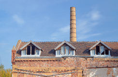 Chimney and buildings of the old slaughterhouse Royalty Free Stock Image