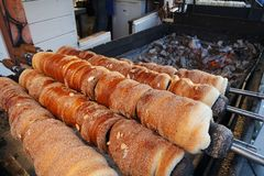 Chimney cake - street food pastry stock photography