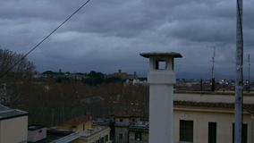 Chimney Cap. At dawn in Rome, Italy stock video footage