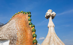 The chimney of Casa Batllo, Barcelona Royalty Free Stock Images