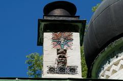 Chimney with ceramic art tiles royalty free stock photography
