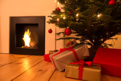 Chimney and christmas tree Royalty Free Stock Photography