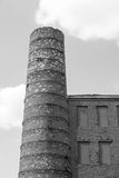 Chimney closeup and part a brick wall of monochrome tone Stock Photo