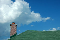 Chimney on clouds Stock Photo