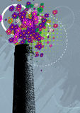 Chimney with colorful flower smoke Stock Photography