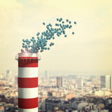 Chimney and 3d balloon. With urban background Stock Photography
