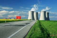 Chimney environment ecology. Chimney on road horizon power station Stock Photos