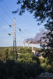 Chimney expelling pollutant gases to the air. Spain Royalty Free Stock Photos