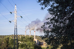 Chimney expelling pollutant gases to the air, Spain Stock Images