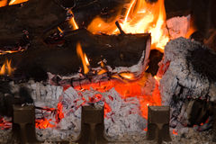 Chimney fire Royalty Free Stock Images