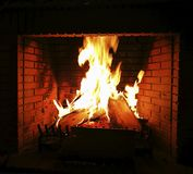 Chimney fireplaces heat source for a pleasant winter Stock Images