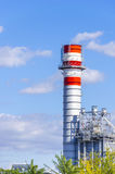Chimney from gas electricity power plant factory Royalty Free Stock Photos