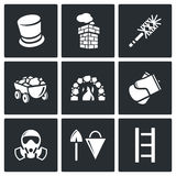 Chimney and heating coal icons set. Vector Illustration. Vector  Flat Icons collection on a black background for design Royalty Free Stock Photography