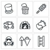 Chimney and heating coal icons set. Vector Illustration. Stock Images