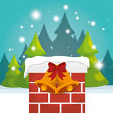 Chimney house christmas icon. Vector illustration design Royalty Free Stock Image