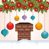 Chimney house christmas icon. Vector illustration design Stock Image