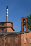 The chimney in old, brick distillery Stock Images