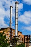 Chimney of the old power plant in a city Kremenchug, Ukraine. Chimney of the old power plant in city Kremenchug, Ukraine Royalty Free Stock Images