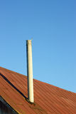 Chimney on an old tinny roof Royalty Free Stock Photos