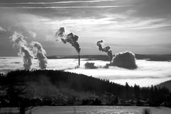 Chimney pollution. Chimney pollution in Czech republic Stock Images