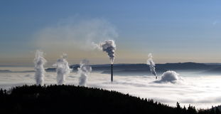 Chimney pollution. Chimney pollution in Czech republic Royalty Free Stock Photos