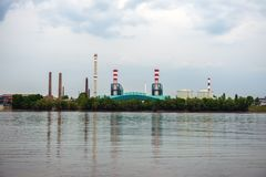 Chimney of a Power plant Stock Image