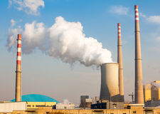 Chimney of power plant Stock Images