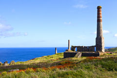 Chimney Remains at Levant Tin Mine in Cornwall Stock Photography