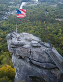 Chimney Rock. With Flag Flying in North Carolina Stock Photography