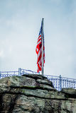 Chimney rock and american flag Royalty Free Stock Photos
