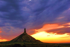 Chimney Rock Landmark In Nebraska After Sunset Royalty Free Stock Photo