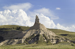 Chimney Rock National Historic Site,. Nebraska, the most famous site on the Oregon Trail for early settlers and pioneers Stock Images