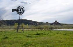 Chimney Rock National Historic Site. Old windmill water pump at Chimney Rock in western Nebraska Stock Photos