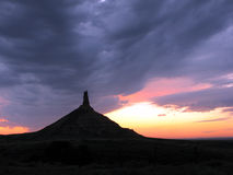 Chimney Rock in Nebraska at Dusk  Stock Photos